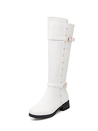 5c54edc701 AllhqFashion Damen Niedriger Absatz Schnalle Rund Zehe PU Leder  Reißverschluss Stiefel, Weiß, 40