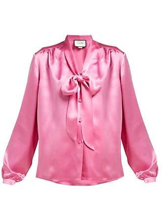 5cca8f37e Gucci Tie Neck Silk Satin Blouse - Womens - Pink