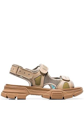 0f4322c8c4e Gucci brown aguru leather and mesh hiking sandals
