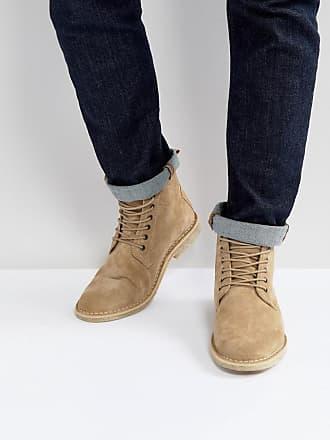 8aae48738fd63 Asos Desert boots en daim avec détail en cuir - Taupe - Taupe