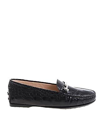 78ddbe76e56 Tod s Black crocodile print moccasins with logo
