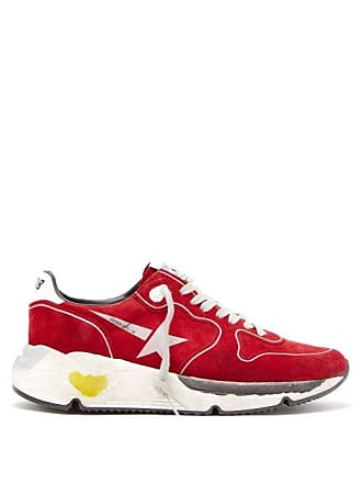 Golden Goose Running Sole Low Top Suede Trainers - Womens - Red