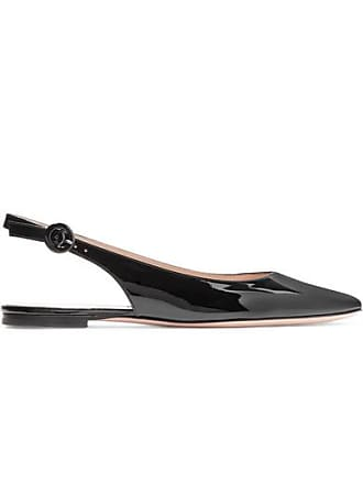 Gianvito Rossi Patent-leather Slingback Flats - Black