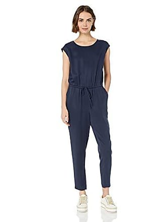 Daily Ritual Womens Tencel Short-Sleeve Jumpsuit, Navy, 12