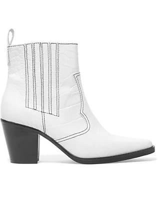 Ganni Croc-effect Leather Ankle Boots - White