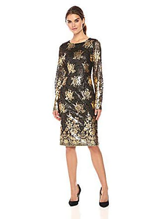 9b32c4c56f57b5 Nicole Miller Womens Long Sleeve Metallic Lace Fitted Cocktail Dress,  Black/Gold, 2