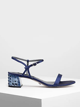 Charles & Keith Faceted Lucite Heel Satin Sandals