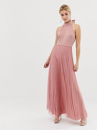 Asos Vestito lungo in tulle a pieghe con top in tessuto scuba - Rosa 5f1209b90cd