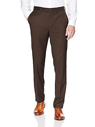 Louis Raphael Mens Herringbone Modern Fit Flat Front Dress Pant, bark, 36x32