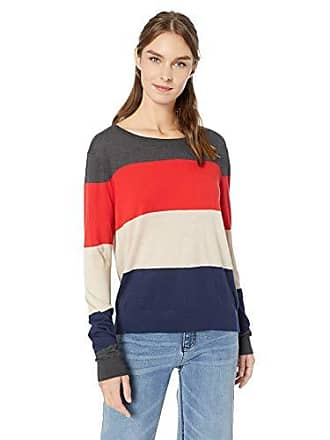 Splendid Womens Crewneck Long Sleeve Pullover Sweater Sweatshirt, Charcoal/Rouge Oatmeal Navy, Small