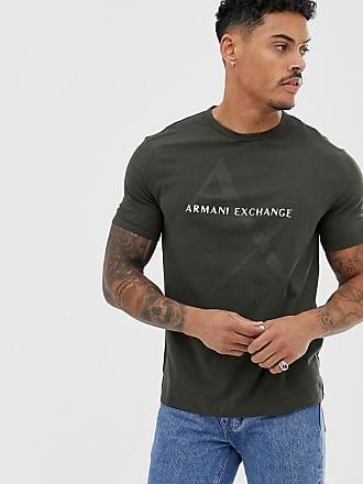 Armani large text logo t-shirt in khaki - Green