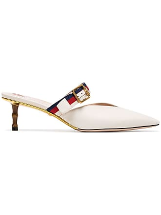 ec553a0a5 Gucci 45 Mules With Bamboo Heel - White