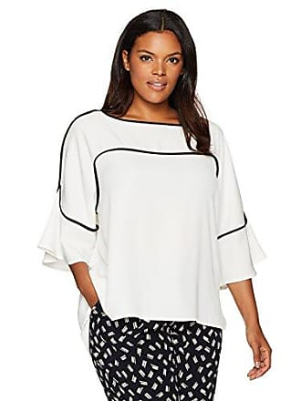 Calvin Klein Womens Flutter Sleeve Top with Piping, Soft White, S