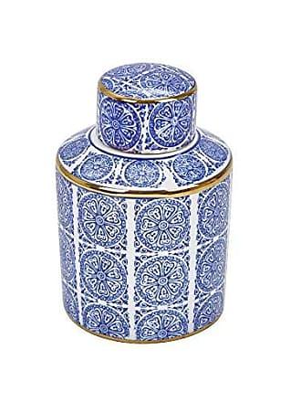 Sagebrook Home 12050 Decorative Ceramic Covered Jar, Blue/White/Gold Ceramic, 5.5 x 5.5 x 8.5 Inches