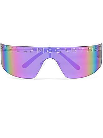09f4f2302b9ef Stella McCartney Shield D-frame Stud-embellished Bio-acetate Mirrored  Sunglasses - Purple