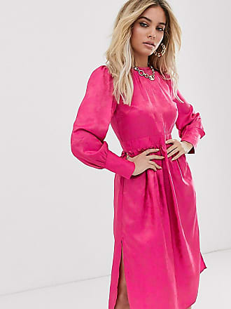 Unique21 waisted midi dress in jaquard satin-Pink