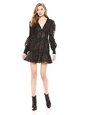 b51a72d7e16e21 Keepsake the Label Womens Wonderland Longsleeve LACE Flared Dress, Black, XS