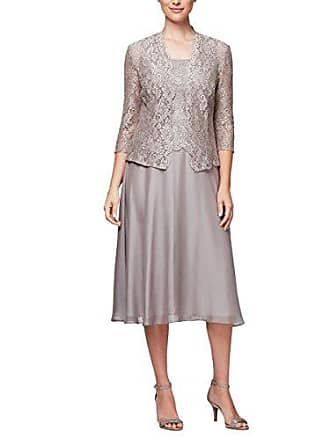 Alex Evenings Womens Sequin Lace Mock Dress (Petite and Regular), Short Mink, 18