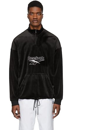 ff6bf21e9d4 Reebok Black Velour Half-Zip Sweatshirt