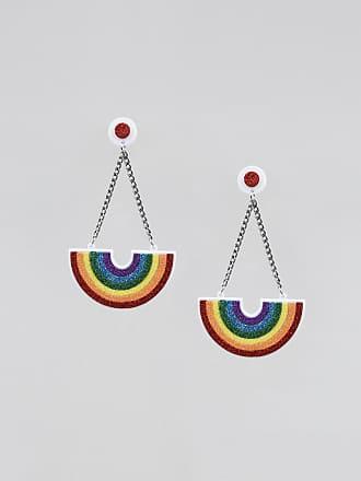 C&A Brinco Feminino Pride Arco-Íris com Glitter Branco