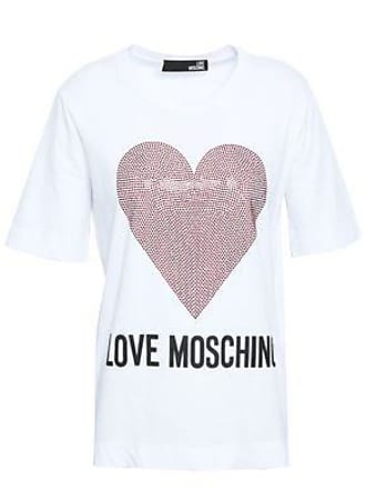 64d0d1e27811 Love Moschino Love Moschino Woman Crystal-embellished Printed Cotton-jersey  T-shirt White