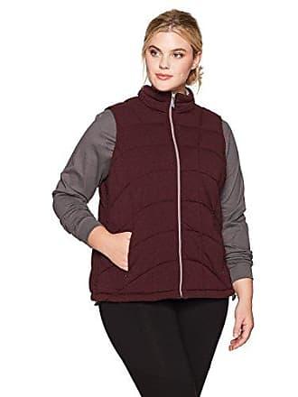 Andrew Marc Womens Knit Puffer Vest, Plus Size, Burgundy Heather, 1X