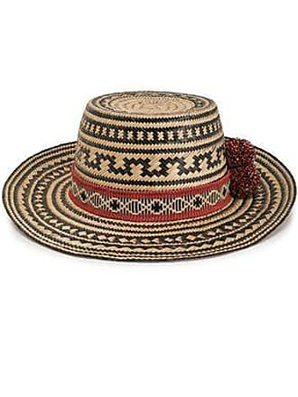 Yosuzi Yosuzi Woman Karok Pompom-embellished Straw Panama Hat Black Size L