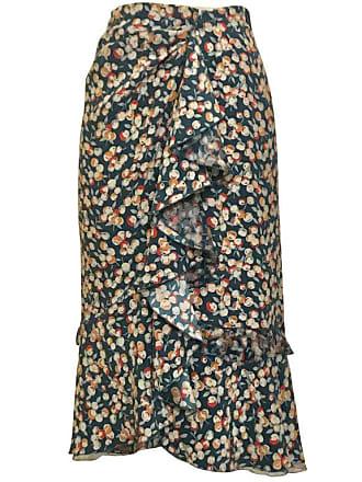 a885835144f Louis Vuitton Teal Blue Cherry Apple Fruit Print Ruffle Pencil Skirt