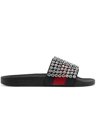 de5c4fd2715 Gucci Crystal-embellished Leather And Rubber Slides - Black