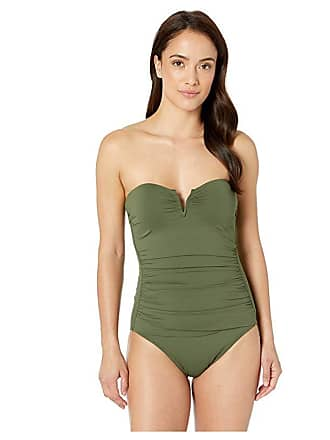 2941a8edc3f53 Tommy Bahama Pearl V-Front Bandeau One-Piece Swimsuit (Dark Teal Leaf)