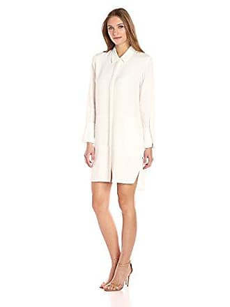 dc31d01ae7e0 Halston Heritage Womens Long Sleeve Shirtdress with Wide Cuff, Chalk, 10
