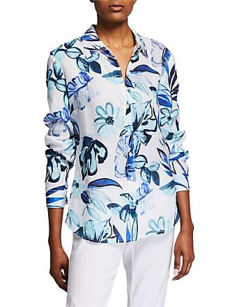 120% Lino Floral-Print Collared Button-Down Shirt