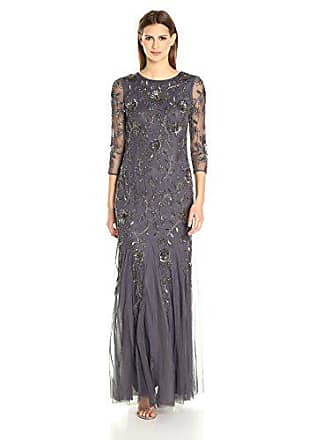 Adrianna Papell Womens L/s Beaded Mermaid Long Gown, Gunmetal, 6