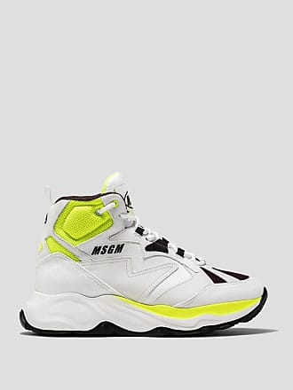 Msgm attack hi top sneaker with fluorescent details