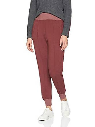 Monrow Womens Supersoft High Waisted Stitched Sweats w/Cuff, Dusty Maroon Small