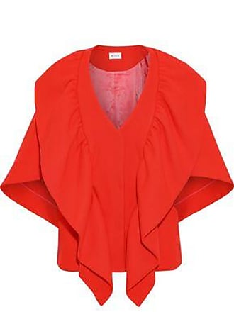 Milly Milly Woman Ruffled Wool-blend Cape Tomato Red Size S