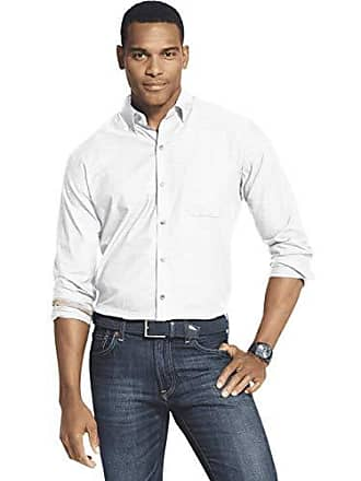 Van Heusen Mens Air Long Sleeve Button Down Shirt, Bright White, Small