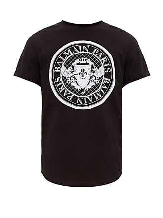 61293f47049f Balmain Flocked Logo Crest Cotton T Shirt - Mens - Black