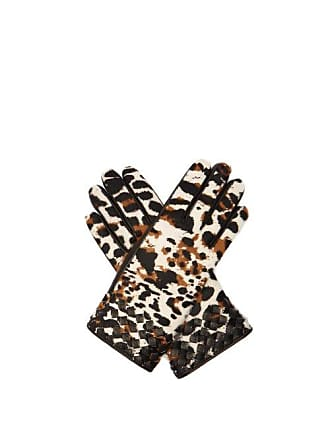 Bottega Veneta Leopard Print Calf Hair And Leather Gloves - Womens - Brown
