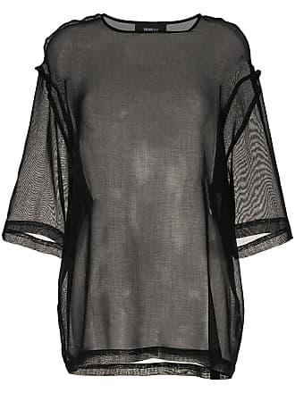 Yang Li Blusa de moletom com recorte translúcido - Preto