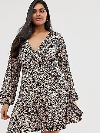 20eb893dab29 Oasis Plus Oasis Curve - Vestito a portafoglio con stampa leopardata -  Marrone