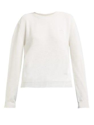 Rochas Logo Appliqué Cotton Sweater - Womens - White