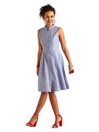 55517209fa0 Yumi Women Blue Chambray Stripe Shirt Dress -Ladies Everyday Work Elegant  Casual A-Line
