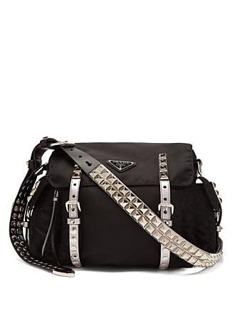 8e57231a129946 Prada New Vela Leather Trimmed Cross Body Bag - Womens - Black Silver