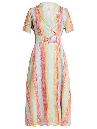 Gül Hürgel Shawl Collar Striped Linen Dress - Womens - Multi Stripe