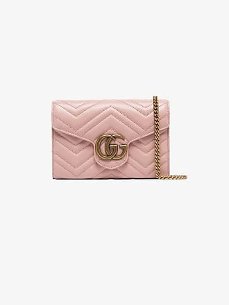 Gucci pink GG plaque quilted leather cross body bag