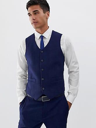 Asos Chaleco de traje ajustado azul de mezcla de lana con espiga de ASOS  DESIGN Wedding c6241a23c71f