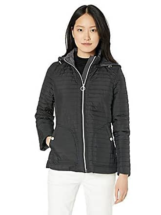 Anne Klein Womens All Year Jacket with Removable Hood, Black, X-Large