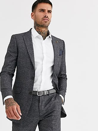 Burton Menswear skinny suit jacket in red check-Blue