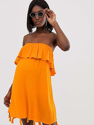 e96ddc79777f2 Asos Maternity ASOS DESIGN Maternity bandeau beach dress with ruffle &  tassel hem in orange -